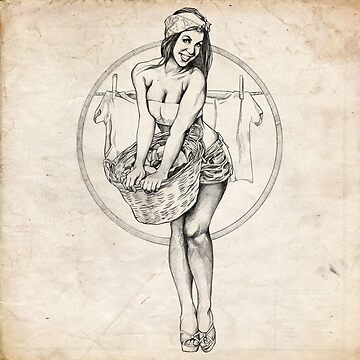 Laundry Day Pinup Girl Sketch by brentms