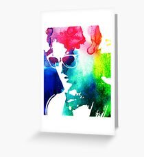 rainbow glasses profile Greeting Card