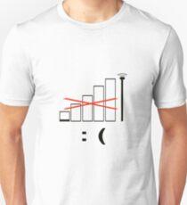 No signal, no bars. Unhappy. Unisex T-Shirt