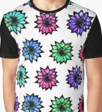 Colorful Hand Painted Flowers Graphic T-Shirt