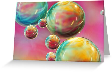 Tropical Feather Bubble Abstract by Sharon Johnstone