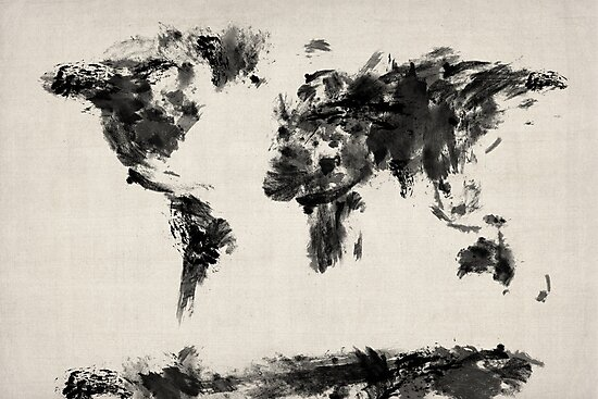 Map of the world map dark abstract painting photographic prints map of the world map dark abstract painting by michael tompsett gumiabroncs Images