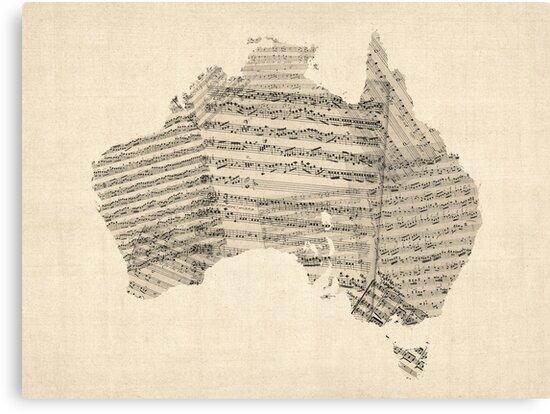 Old Sheet Music Map of Australia Map by Michael Tompsett