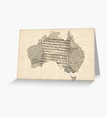Old Sheet Music Map of Australia Map Greeting Card