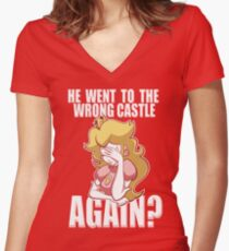 He went to the wrong castle AGAIN? Women's Fitted V-Neck T-Shirt
