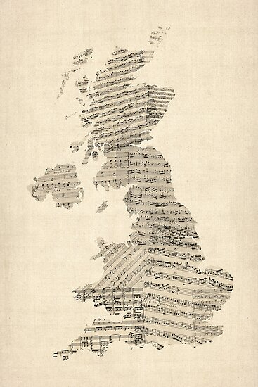 Great Britain UK Old Sheet Music Map by Michael Tompsett