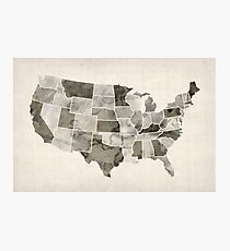 United States Watercolor Map Photographic Print