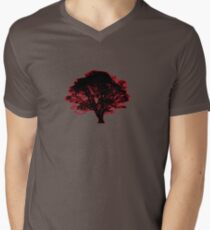 red and black tree retro truck stop tee  Men's V-Neck T-Shirt
