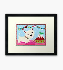 Westie and Christmas Pudding Framed Print