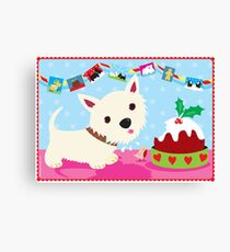 Westie and Christmas Pudding Canvas Print