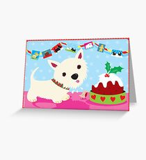 Westie and Christmas Pudding Greeting Card