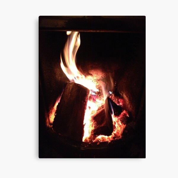 Log fire Canvas Print