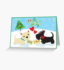 Westie and Scottie under the Mistletoe Greeting Card