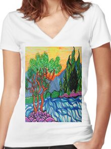 Cypress and Olive trees by the river Women's Fitted V-Neck T-Shirt