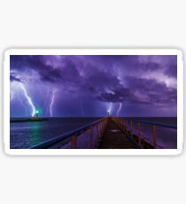Lighthouses in a Thunderstorm with Purple Rain Sticker