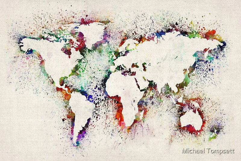 Map of the world paint splashes canvas prints by michael tompsett map of the world paint splashes gumiabroncs Images