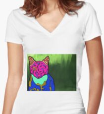 Abstract Bright Colorful Cat  Women's Fitted V-Neck T-Shirt