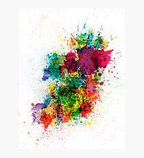 Ireland Map Paint Splashes Photographic Print