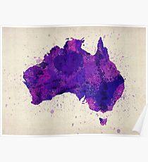Australia Watercolor Map Art Print Poster