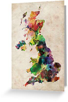 United Kingdom Watercolor Map by Michael Tompsett