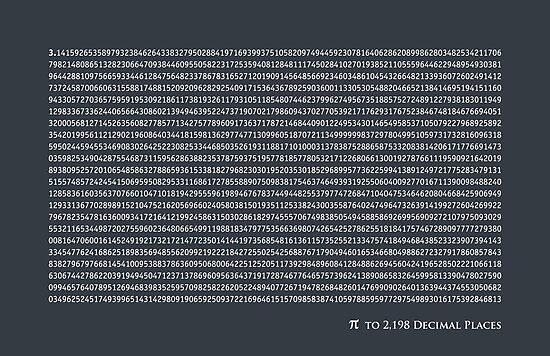 Pi to 2,198 decimal places by Michael Tompsett