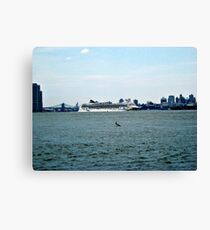 Norweigan Cruise Line on the Hudson Canvas Print
