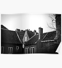 Roof tops in black and white Poster