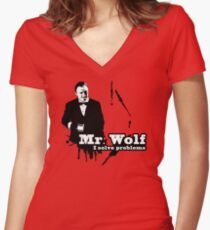Mr. Wolf Women's Fitted V-Neck T-Shirt