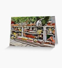 The Wall of Old Chainsaws Greeting Card