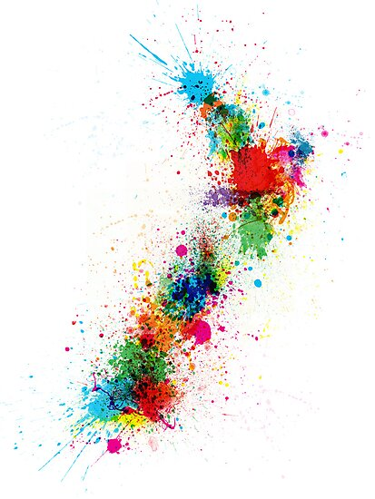 New Zealand Paint Splashes Map by Michael Tompsett