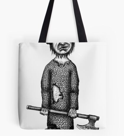 Funny viking black and white pen ink drawing Tote Bag
