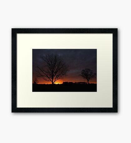 Silhouettes At Sunrise Framed Print