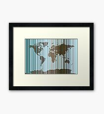 World Map Abstract Barcode Framed Print