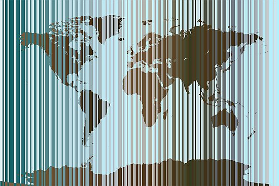 World Map Abstract Barcode by Michael Tompsett