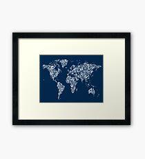 Butterflies Map of the World Map Framed Print