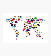 Dinosaur Map of the World Map Photographic Print