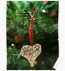 Golden heart ornament hanging Poster