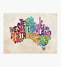 Australia Typographic Text Map Photographic Print
