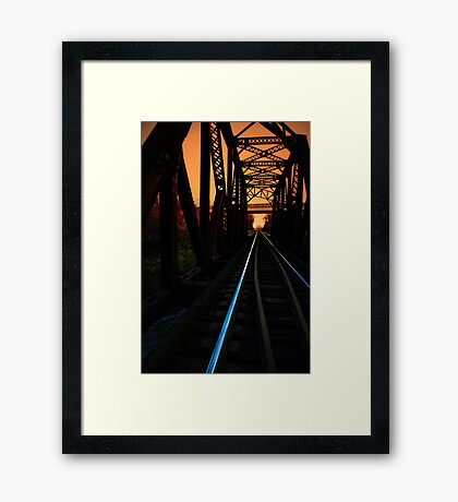 Sunset on the trestle  Framed Print