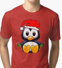 Cute Cartoon Christmas Penguin Tri-blend T-Shirt