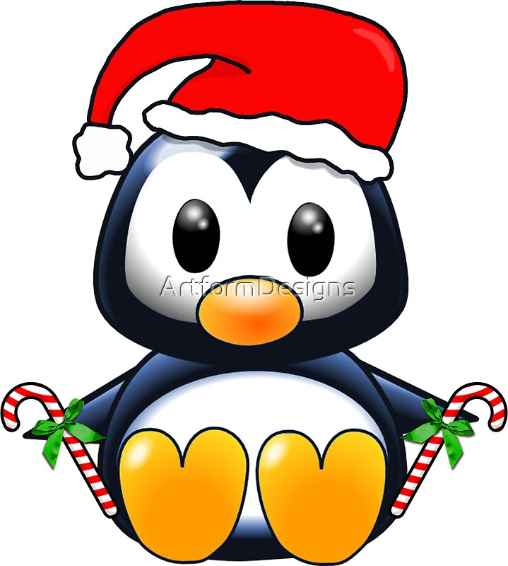 """Cute Cartoon Christmas Penguin"" Stickers by ..."