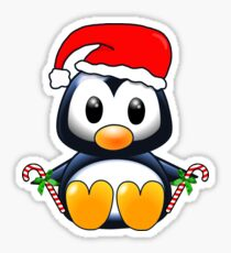 Cute Cartoon Christmas Penguin Sticker
