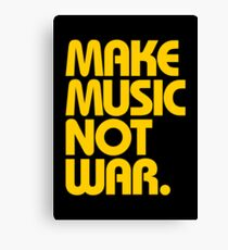 Make Music Not War (Mustard) Canvas Print