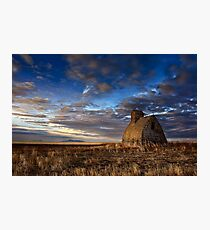 Grain Shed Looking At Sweet Grass Hills Photographic Print