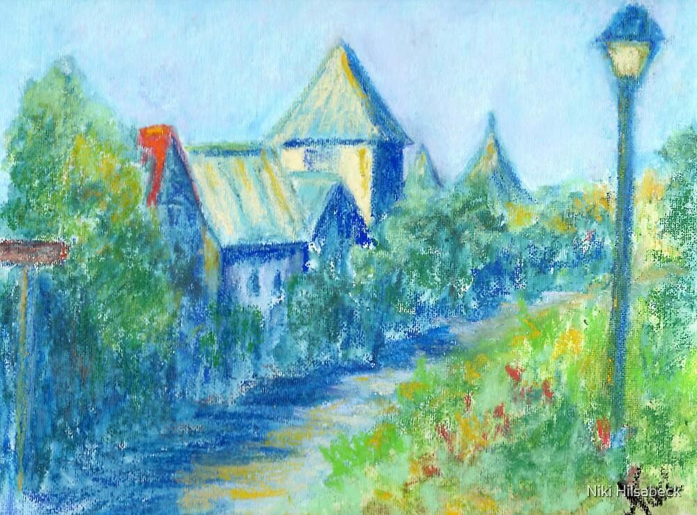 Solvang Skyline (pastel) by Niki Hilsabeck