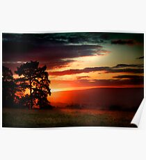 Sunset over the English Countryside Poster