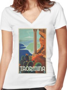Vintage poster - Taormina Women's Fitted V-Neck T-Shirt