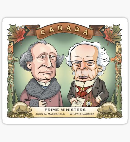 Prime Ministers John A MacDonald & Wilfrid Laurier Sticker