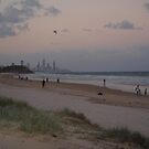 Waiting for the moon and stars over Surfers Paradise QLD. by Virginia McGowan
