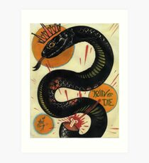 join or die, socialist black snake, tattoo art Art Print